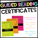 Guided Reading Certificates Level A-Y {EDITABLE}