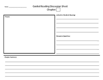 Guided Reading Chapter Discussion Graphic Organizer and Rubric