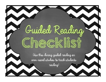 Guided Reading Checklist for teachers