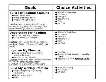 Guided Reading Choice Board Calendar (with Goals)