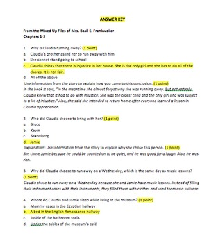 Guided Reading Comprehension Packet - From the Mixed-Up Files - E.L. Konigsburg