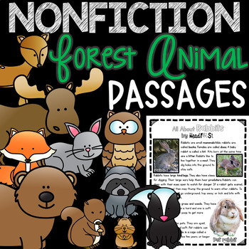 Guided Reading Comprehension Passages Nonfiction FOREST ANIMALS - GROWING BUNDLE