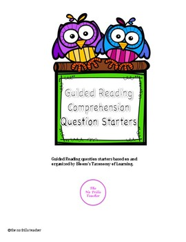 Guided Reading Comprehension Question Starters
