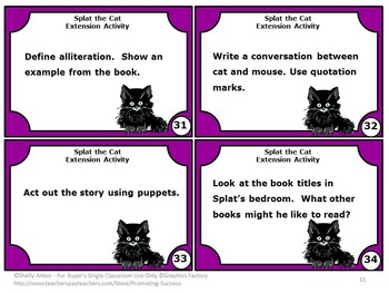 Splat the Cat Book by Rob Scotton, 1st Grade Reading Comprehension Activities