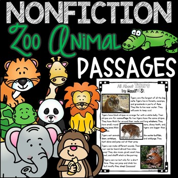 Distance Learning Nonfiction Zoo Animals Reading Passages NO PREP BUNDLE