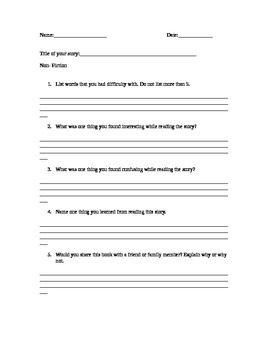 Guided Reading & Daily 5 Non-Fiction Response Sheet