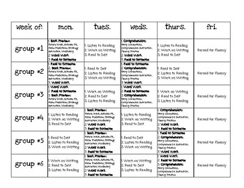 Guided Reading Daily 5 Schedule