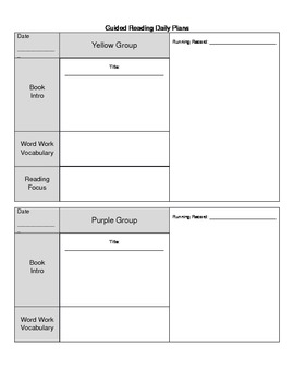 Guided Reading Daily Plans