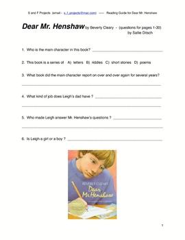 Guided Reading - Dear Mr. Henshaw