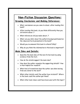 Guided Reading Discussion Questions and Printables for Non-Fiction Reading