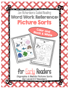 Guided Reading Early Word Work: Picture Sort Cards for Digraphs and Blends