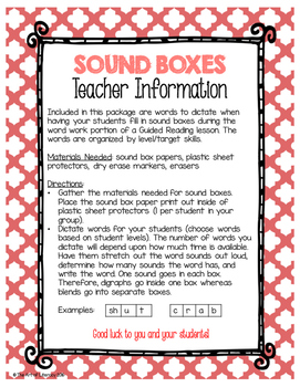 Guided Reading Early Word Work: Sound Boxes