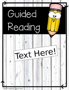 Guided Reading Editable Binder Kit