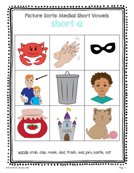Guided Reading Emergent Word Work: Medial Short Vowel Picture Sorts