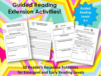 Guided Reading Extension Activities:  Emergent and Early Readers Bundle