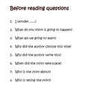 Guided Reading - Fiction Comprehension Questions for Begin