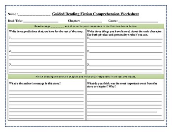 Guided Reading Fiction Comprehension Worksheet