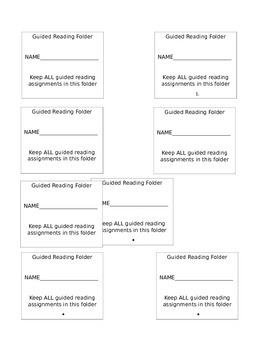 Guided Reading Folder Labels