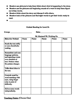 Guided Reading Form for Level A-D