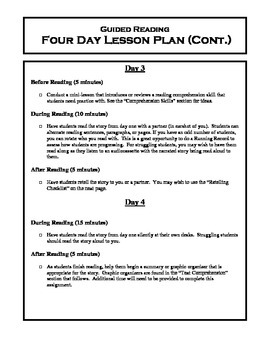 Guided Reading Generic 4 Day Lesson Plan