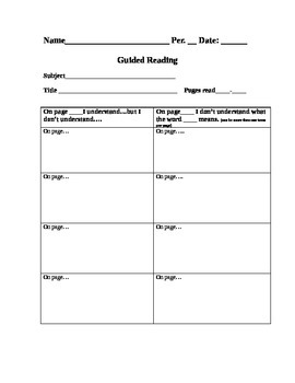 Guided Reading Graphic Organizer