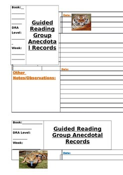 Guided Reading Group Anecdotal Notes Template