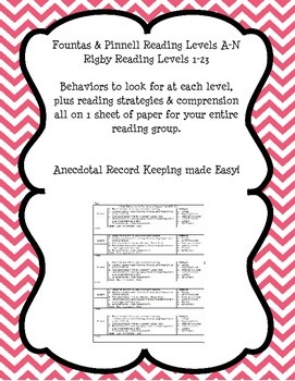 Guided Reading Group Anecdotal Records Form F&P A-N