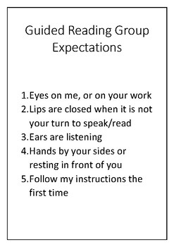 Guided Reading Group Expectations