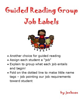 Guided Reading Group Job Desk Signs, standards based, job on front, info on back