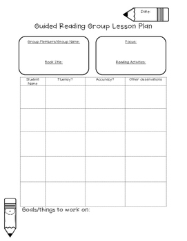 Guided Reading Group Lesson Plan Template