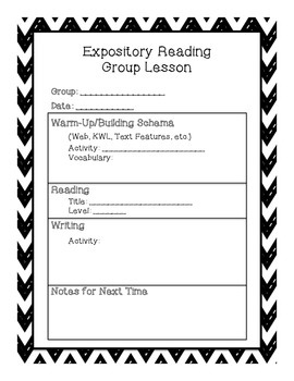 Guided Reading Group Lesson Plan Templates