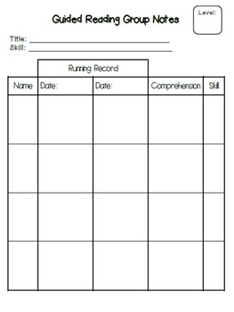Guided Reading Group Notes - Editable