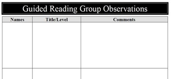 Guided Reading Group Observation