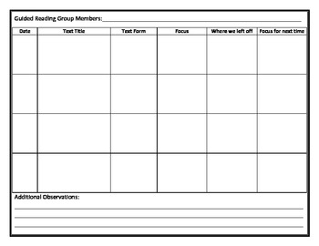 Guided Reading Group Organizer