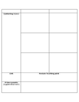 Guided Reading Group Planning & Note taking Template