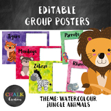 Editable Guided Reading Group Posters - Watercolour Jungle Animals