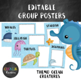 Editable Guided Reading Group Posters - Ocean Creatures