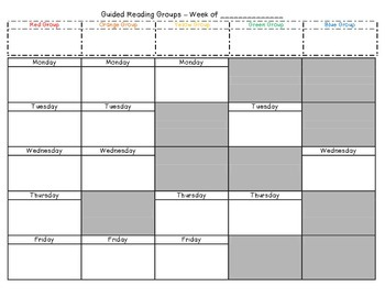 Guided Reading Group Schedule