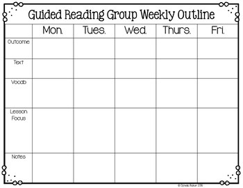 Guided Reading Group Weekly Outline