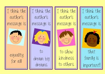 Guided Reading Groups Bookmarks (Author's Message/Theme)