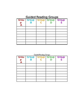 Guided Reading Groups Chart