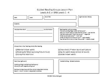 Guided Reading Groups Lesson Plan Templates DRA Levels And - Reading group lesson plan template