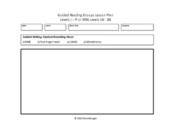 Guided Reading Groups Lesson Plan Templates DRA Levels 16-28 (Levels J-P)