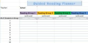 Guided Reading Groups Lesson Planner and Intervention Notes Digital Spreadsheet