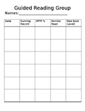 Guided Reading Groups Record Sheet