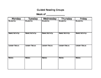 Guided Reading Groups Recording Sheet