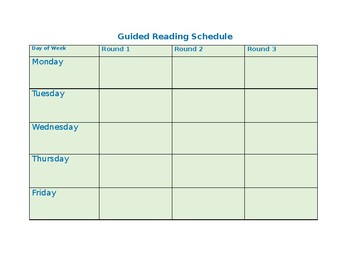 Guided Reading Groups Schedule