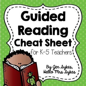 Guided Reading Freebie for Grades 1-5 Cheat Sheet