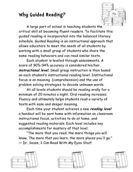 Guided Reading Handouts (B/W version)