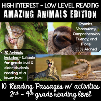 Guided Reading High Interest Passages : AMAZING ANIMALS 2nd - 4th reading levels